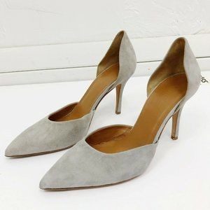 Vince Gray Suede D'Orsay Pointed Toe High Heels